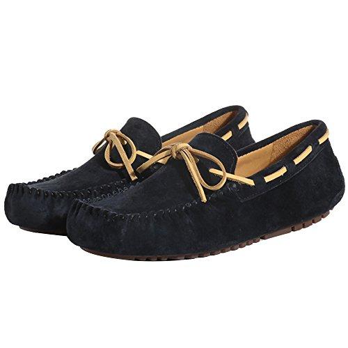 OZZEG Cuir mocassin bateau pont chaussures cuir véritable hommes Noir