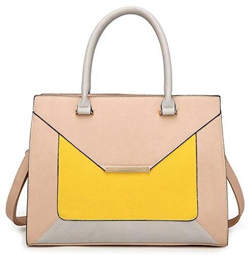 Kukubird Olivia Ecopelle Fibbia Oro Busta Forma Tote Handbag Yellow