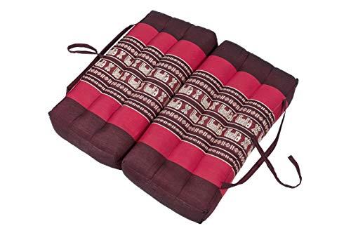 Handelsturm Thaikissen Faltbares Sitzkissen 40x40 für Entspannung, Meditation oder Yoga (Elefanten rot) -