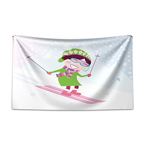 ABAKUHAUS Sport Wandteppich und Tagesdecke, Skifahren Mädchen Schnee aus Weiches Mikrofaser Stoff Kein Verblassen Klare Farben Waschbar, 230 x 140 cm, Mehrfarbig