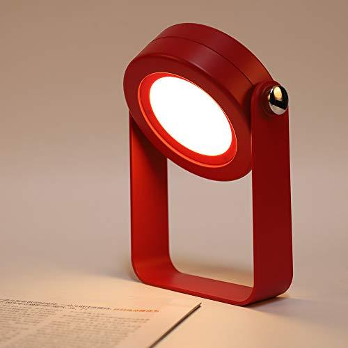 BLOOMWIN Nachttischlampe Dimmbar Nachlicht Touch LED Tischleuchte Tischlampe 3 Helligkeitsstufen klappbare Leseleuchte Nachtischlampe Kinder Rot