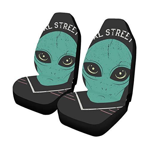 Reopx Abdeckungen Seat Space Alien Kopf Drucke Design T-Shirt Street Style Universal Fit Auto Autositzbezüge Schutzfolie Für Auto LKW Geländewagen Frauen Dame (2 Vorne) Einzigartige Sitzbezüge -