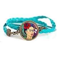 Pulsera doble trenza turquesa, Cabochon Frida Khalo, retrato mujer, Mexico, Colores