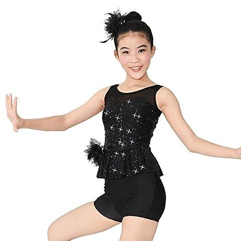 MiDee 4 Stück Latin Dance Kostüm Illusion Süße Outfits Für Mädchen (Schwarz, MC)