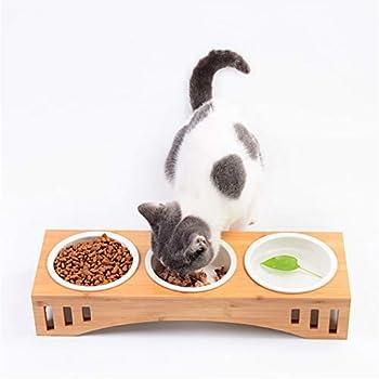 Petilleur Bol Céramique pour Chat et Chien Gamelle Haute pour Chat et Petit Chien avec Support en Bambou (3 Bols, Céramique)