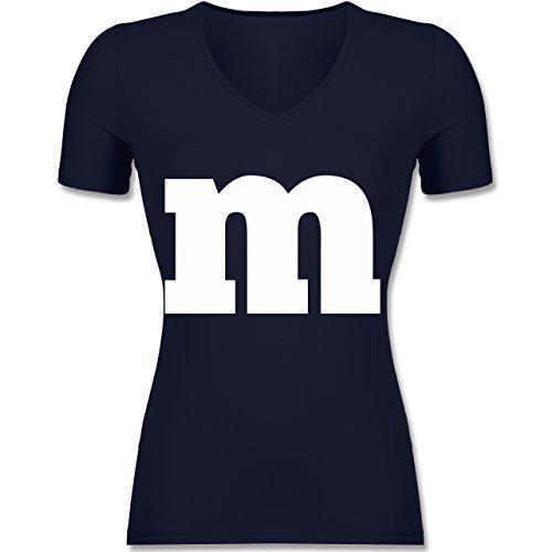 Karneval & Fasching - Gruppen-Kostüm m Aufdruck - Tailliertes T-Shirt mit V-Ausschnitt für Frauen Dunkelblau