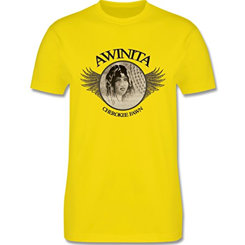 Vintage - Awinita - Cherokee Mädchen - Herren Premium T-Shirt Lemon Gelb