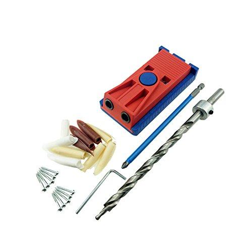 KKmoon Kunststoff Schräges Loch Vorrichtungs-Kit-System für Holzbearbeitung Punch Locator mit 9.5mm Puncher und zufällige Farbe Plug Holzbearbeitung Tool Set (Locator-system)