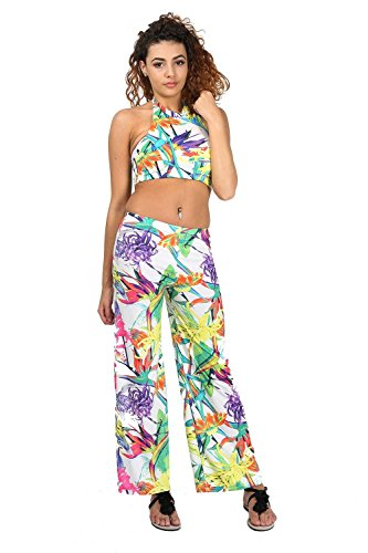 Womens Tropical Leaf Crop Top with Wide Leg Palazzo Pants. Sizes 4 to 14