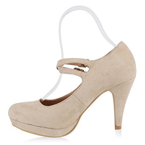 Damen Pumps T-Strap Spitze High Heels Velours Riemchenpumps Stilettos Zierperlen Nieten Metallic Blockabsatz Schuhe Flandell Creme Schnalle