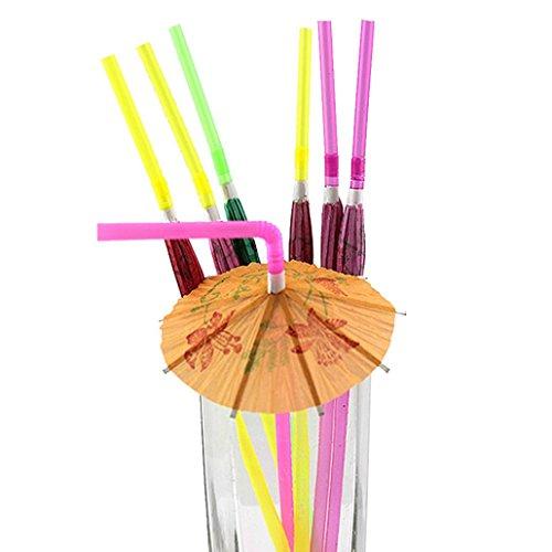 Winkey 50Trinkhalme, Gemischt Hawaiian Hula Beach Party Cocktail Regenschirm Sonnenschirm Trinkhalme
