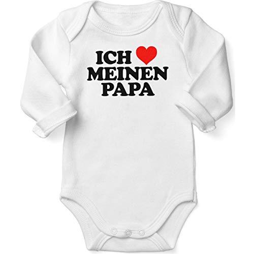 Mikalino Babybody mit Spruch für Jungen Mädchen Unisex Langarm Ich liebe meinen Papa | handbedruckt in Deutschland | Handmade with love, Farbe:weiss, ()