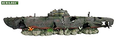 Heritage Aquarium Fish Tank U-boat Submarine 2-pc Wreck Handpainted Ornament
