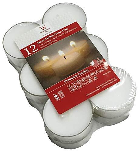 MAXI-Teelichte im PC Cup, transparent. 2,1 x 5,6 cm. 12 Stück WIEDEMANN weiß WEISS-004