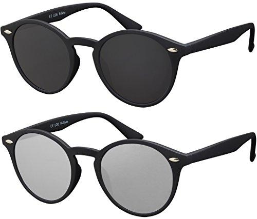 La Optica Verspiegelte UV 400 Runde Damen Herren Retro Sonnenbrille - Doppelpack Rubber Schwarz (Gläser: 1 x Grau, 1 x Silber verspiegelt)