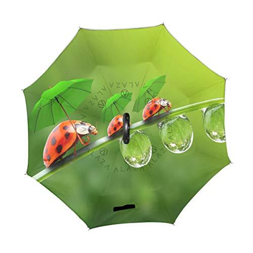 XiangHeFu Double Couche symétrie inversée parapluies Coccinelle en Rainy Season Pliant Coupe-Vent Protection UV Big Droit pour Voiture avec poignée en Forme de C