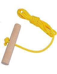 Johann Haslberger - Cuerda para trineo, 1,50 m Cuerda larga con mango de madera de haya para trineo Bobs Rodel, disponible en muchos colores., amarillo