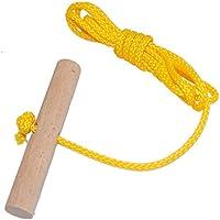 Cuerda con agarre de madera de haya, 1,5 metros de largo, para trineo, amarillo