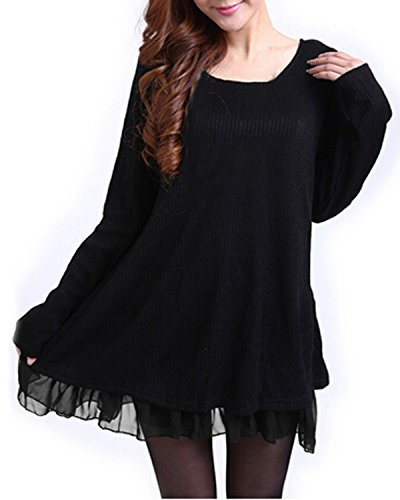 Zanzea Femme Sweater Tricot Lâce Manche Longue Haut Pull Mini-Robe Cardigan Sweats, Noir, EU 44/ US 12 UK 16