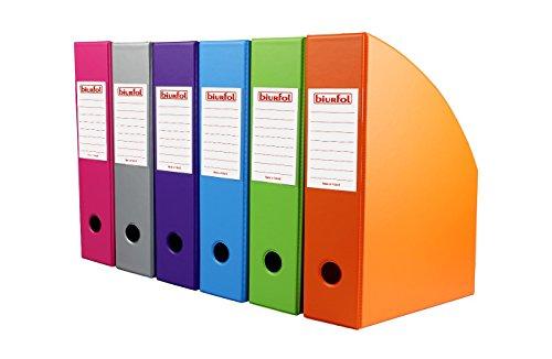 BIURFOL A-KSE-35 Magazine Boxes New Colours Collection, 70 mm, 6 Stück, rosa/grass/orange/violett/sky/silber