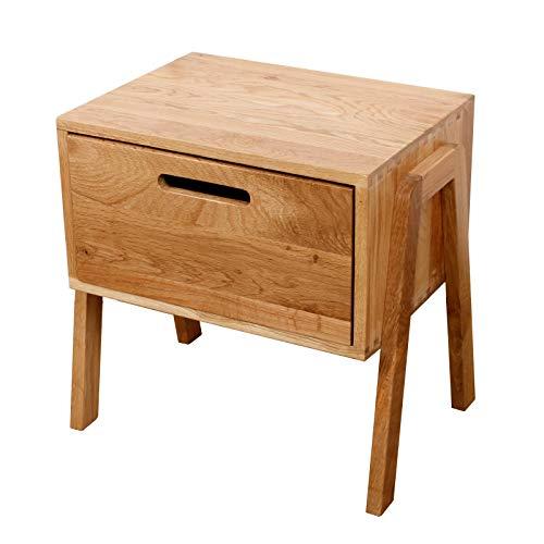 Murong stapelbarer Nachttisch aus massiver Eiche mit 1 Schublade, schlankes / kleines Holz Schlafzimmer Nachttisch Schrank Retro Seite / Ende / Lampe Tischmöbel -