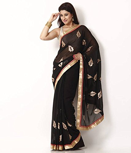 Indian E Fashion Embroidered Hot Pink Half And Half Net Saree With Blouse Material For Party wear,Wedding,Casual sarees  available at amazon for Rs.299