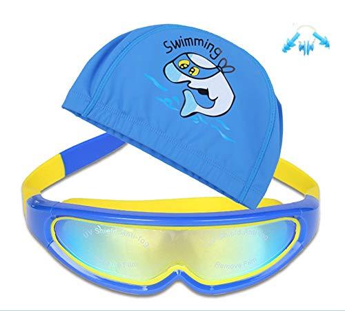 SWJJ Soft Seal Kids Swimming Goggles Set Anti-Fog & UV Protection& Quick Adjustment Clasp Swimming Goggles, Blue Ocean