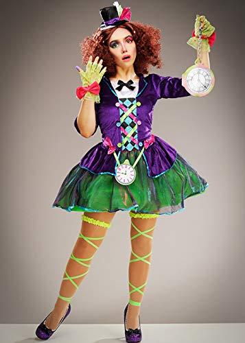 Magic Box Int. Das gotische lila Kostüm Fräuleins Mad Hatter der Frauen Small (UK 8-10) (Lila Mad Hatter Kostüm)