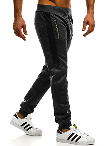 ozonee Mix Uomo Jogging Pantaloni per TEMPO LIBERO Pantaloni sport Jogging Jogger Pantaloni da ginnastica fitness SJ KK01 GRIGIO SCURO _ozonee_fr-80072