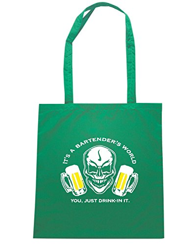 T-Shirtshock - Borsa Shopping BEER0175 Bartender Skull It s a Bartender s World Verde
