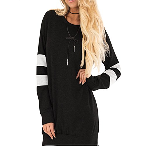 Lover-Beauty Sweatshirts Damen Baseball Langarmshirt Pullover Langarm Herbst Winter Warm Streetwear,Sport Hoodies M Schwarz (Sleeve Tee Long Lover)