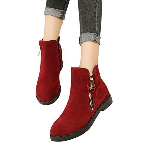OSYARD Damen Flache Booties Martin Stiefel Freizeit Flandells, Frauen Mode Einfarbig Winter Warme Shoes Runde Kappe Schuhe Wildleder Boots Reißverschluss Ankle Stiefeletten(230/37, Rot)