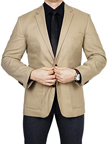 bonprix Herren Sakko untersetzt Comfort Fit Leinen-Mix Übergröße Blazer Zweiknopf Jackett Anzug Langgröße bequem Spezialgröße, Größe 27, beige