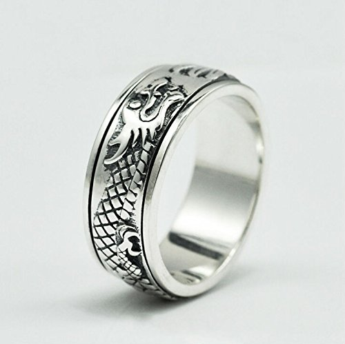 SaySure - 925 sterling silver cool punk rings men wedding (SIZE : 9.5)