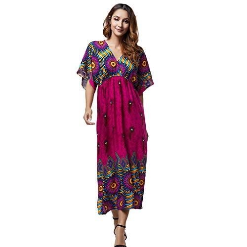 Markthym Frauen-Damen-Druck-Sommer-V-Ausschnitt-Hieb-Hülsen-böhmisches Kleid Böhmisches Kleid mit V-Ausschnitt und Fledermausärmeln für Damen -
