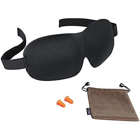 PLEMOI Kit de Antifaces para Dormir 3D Máscara de Dormir & Sueño con Bolso de lleva y Tapones para Oídos, con Banda Elástica Ajustable, Ultra-Suave, Anti-luz para Acostarse & Viajar
