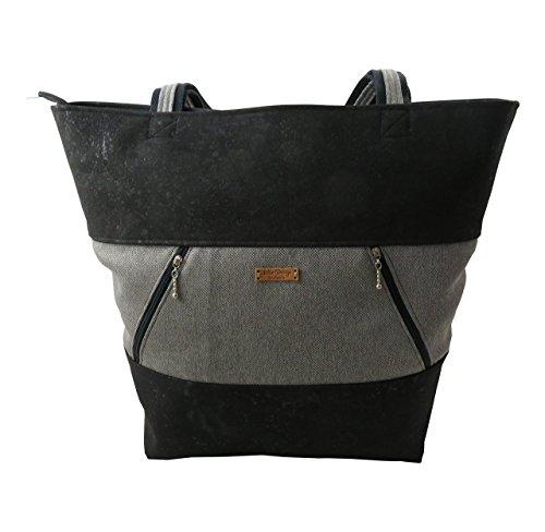 LeKo-Design - handmade Shopper, Schultertasche, Einkaufstasche aus Kork und Canvas, schwarz, grau, 44x37x13cm (Stoff-handtaschen Natürliche)