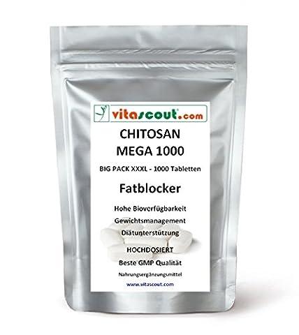 1000Comprimés Chitosan Mega 1000.–SB *: fatblocker Régime Carb Blocker Low Fat