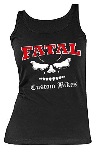Girlie/Damen-Top/Biker-Träger-Shirt/Fatal-Motiv: Fatal Custom Bikes - cooler Look/Motorrad/Biker-Shirt Schwarz