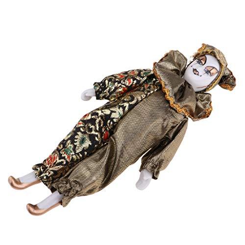 een Clown Puppe Kostüm Puppen aus Porzellan & Stoff für Halloween Dekoration - A - 22cm ()