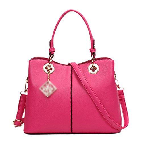 Donna Vendemmia Colore Solido PU zip Sacchetto Quadrato Borsa Singola Borsa Pink