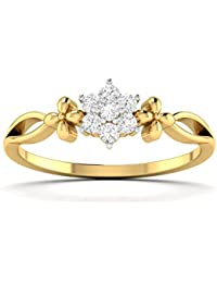 Valentine Gifts : Parshva Diam 0.36 Ct. Designer Collection In Gold Rhodium Plated 925 Sterling Silver Ring For...