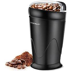 Aigostar Breath 30CFR - Moulin à café, épices et graines 100% sans BPA. Lames en acier inoxydable avec protection anti-usure. De couleur noir, puissance de 150W et capacité de 60 gr. Design exclusif.