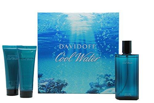 Davidoff Cool Water Geschenkset 125ml EDT + 75ml Aftershave Balsam + 75ml Duschgel - Davidoff After Shave Balsam