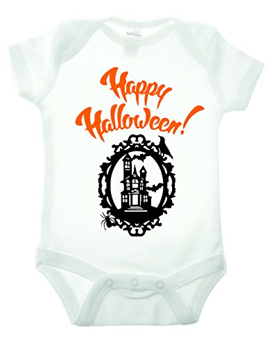 Bullshirt Happy Halloween Short Sleeve Strampler weiß weiß 6-9 Monate (Mutter Neugeborenen Halloween Kostüme)