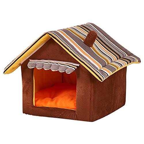 JEELINBORE Cuccia a Casa Letto Pieghevole con Cuscino Cuscini Divano per Cani Gatti Lettino per Animali (caffè, L: 50 * 45cm)