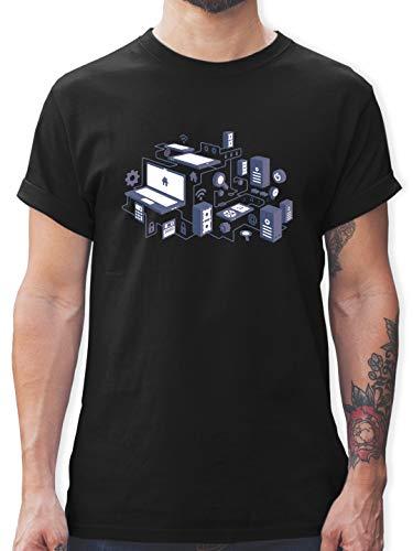 Nerds & Geeks - Netzwerk Design - XL - Schwarz - L190 - Herren T-Shirt und Männer Tshirt - Oversize-rechner