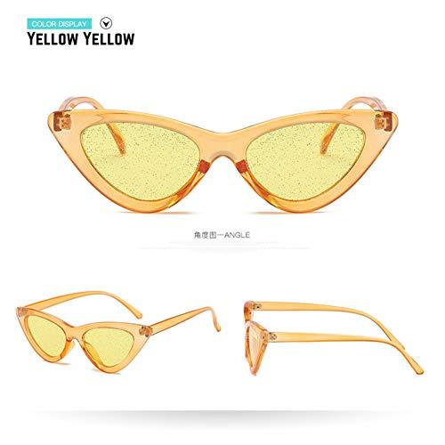 Taiyangcheng Cat Eye Sonnenbrille Frauen dreieck Schutz Candy Farbe Sonnenbrille Elegante pc Rahmen Eyewear Damen,Gelb gelb