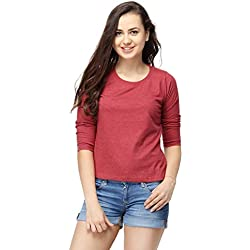 Campus Sutra Women Round Neck Quarter Sleeve T-Shirts(SS16MEL_RNQS_W_PLN_MA_M)