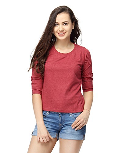 Campus Sutra Women's Cotton Round Neck Quarter Sleeve T-Shirt 5